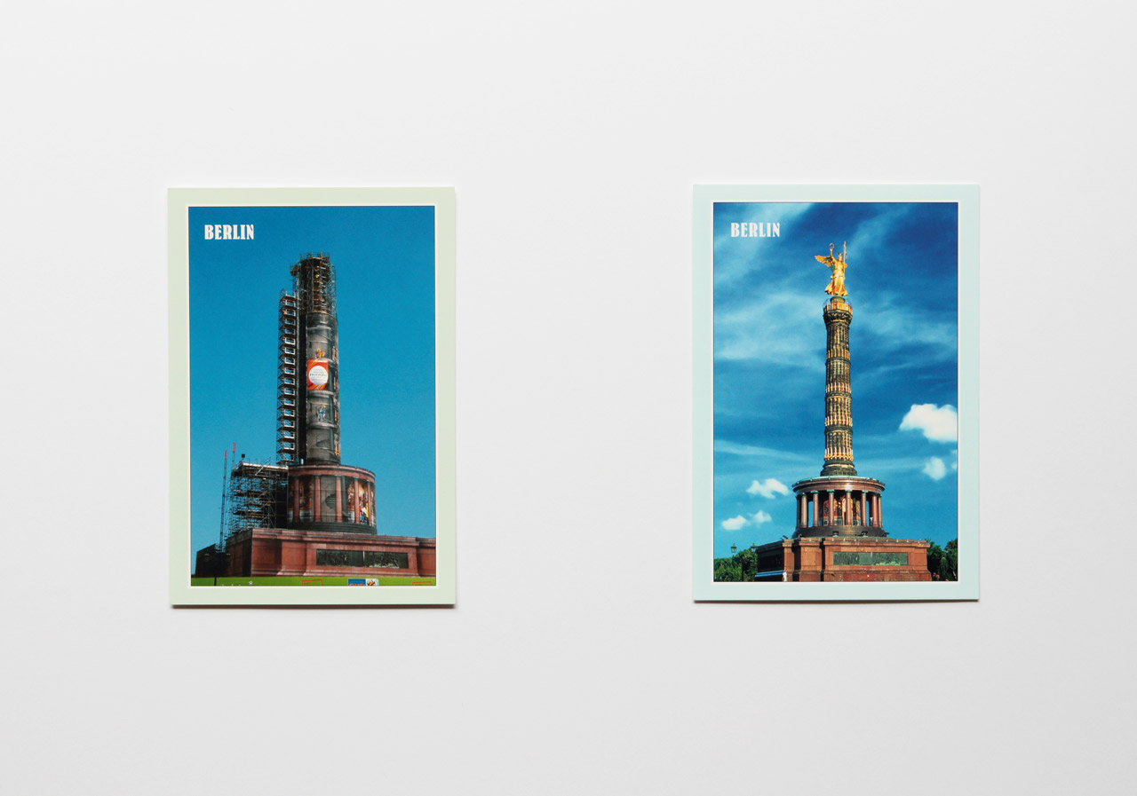 'Repair the souvenir (Germany)' A pair of postcards 2010